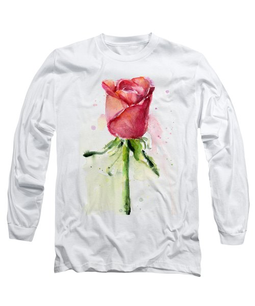 Rose Watercolor Long Sleeve T-Shirt by Olga Shvartsur