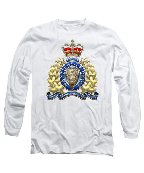Royal Canadian Mounted Police - Rcmp Badge On White Leather Long Sleeve T-Shirt by Serge Averbukh