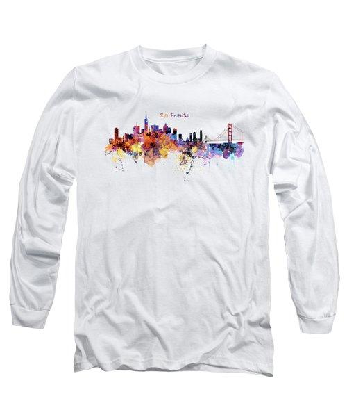 San Francisco Watercolor Skyline Long Sleeve T-Shirt by Marian Voicu