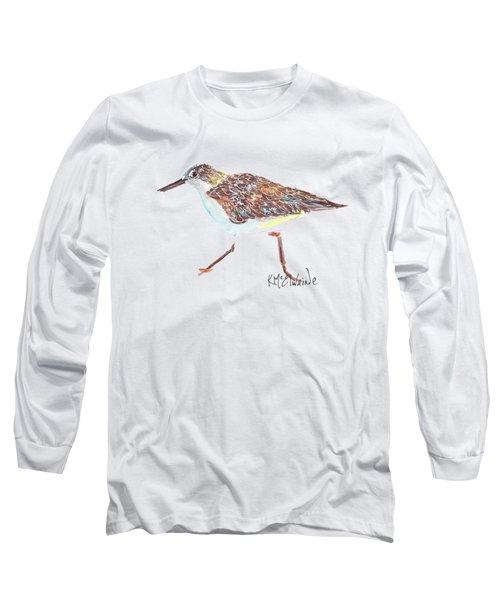 Sandpiper Bird Long Sleeve T-Shirt by Kathleen McElwaine