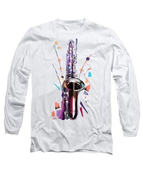 Saxophone Long Sleeve T-Shirt by Melanie D
