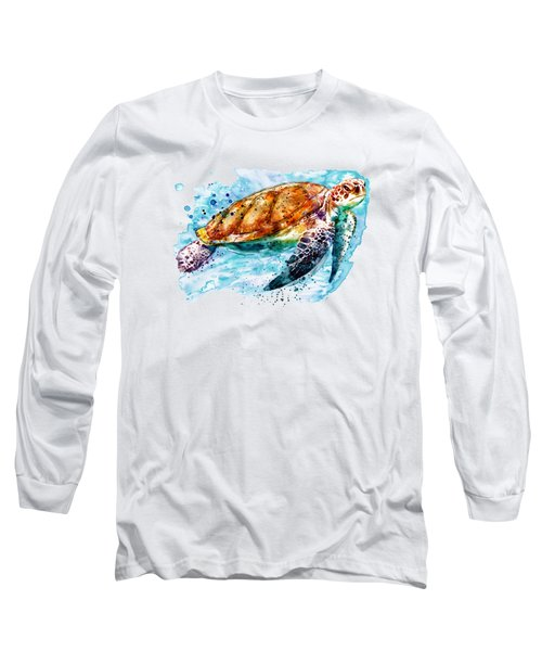 Sea Turtle  Long Sleeve T-Shirt by Marian Voicu