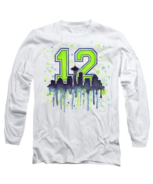 Seattle Seahawks 12th Man Art Long Sleeve T-Shirt by Olga Shvartsur