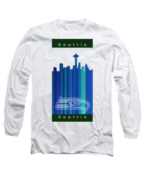 Seattle Sehawks Skyline Long Sleeve T-Shirt by Alberto RuiZ