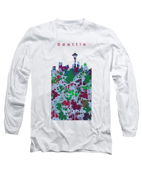 Seattle Skyline .3 Long Sleeve T-Shirt by Alberto RuiZ