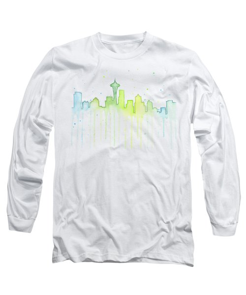 Seattle Skyline Watercolor  Long Sleeve T-Shirt by Olga Shvartsur