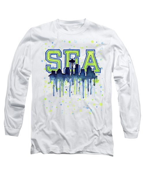 Seattle Watercolor 12th Man Art Painting Space Needle Go Seahawks Long Sleeve T-Shirt by Olga Shvartsur