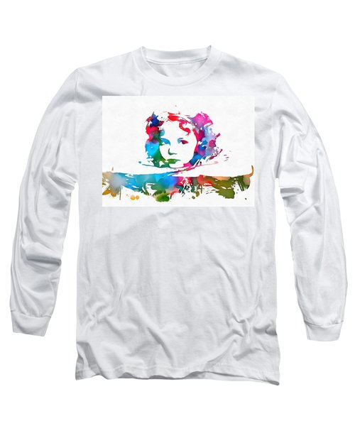 Shirley Temple Watercolor Paint Splatter Long Sleeve T-Shirt by Dan Sproul