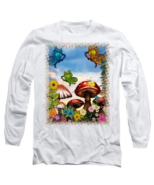 Shroomvilla Summer Fantasy Folk Art Long Sleeve T-Shirt by Sharon and Renee Lozen