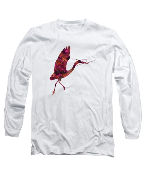 Colorful Great Blue Heron Silhouette Long Sleeve T-Shirt by Shara Lee