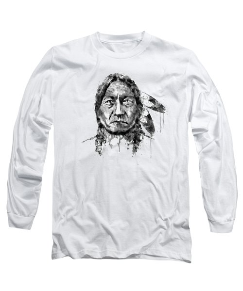 Sitting Bull Black And White Long Sleeve T-Shirt by Marian Voicu