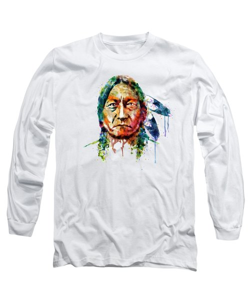 Sitting Bull Watercolor Painting Long Sleeve T-Shirt by Marian Voicu