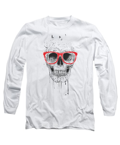 Skull With Red Glasses Long Sleeve T-Shirt by Balazs Solti