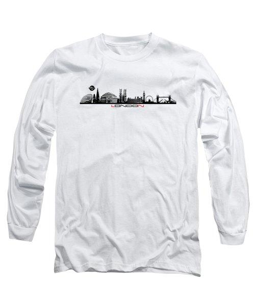 skyline city London black Long Sleeve T-Shirt by Justyna JBJart