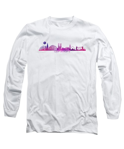 skyline city London purple Long Sleeve T-Shirt by Justyna JBJart