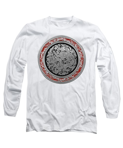 Sliver Chinese Dragon On White Leather Long Sleeve T-Shirt by Serge Averbukh