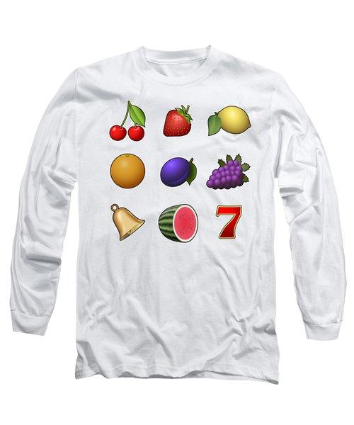 Slot Machine Fruit Symbols Long Sleeve T-Shirt by Miroslav Nemecek