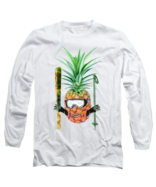 Smiling Pineapple-downhill Skier Long Sleeve T-Shirt by Elena Nikolaeva