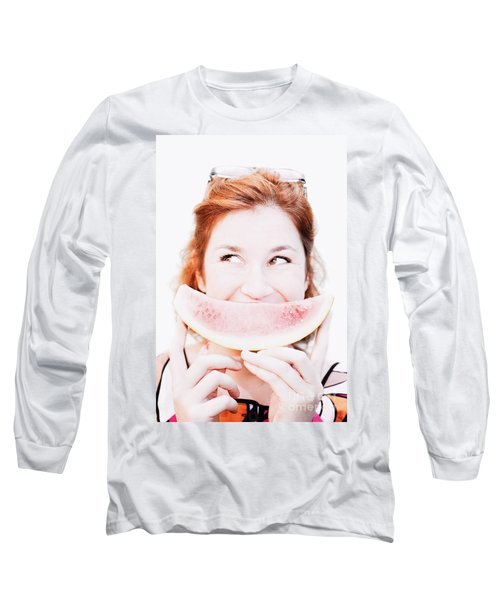 Smiling Summer Snack Long Sleeve T-Shirt by Jorgo Photography - Wall Art Gallery