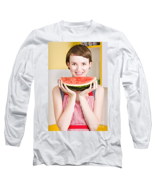 Smiling Young Woman Eating Fresh Fruit Watermelon Long Sleeve T-Shirt by Jorgo Photography - Wall Art Gallery