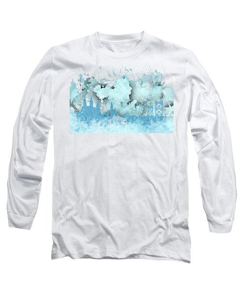 Smudge Philadelphia Skylines Long Sleeve T-Shirt by Alberto RuiZ