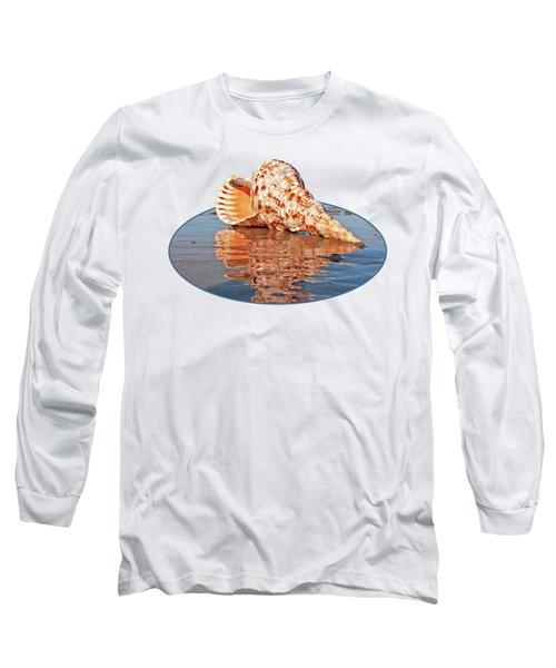 Sounds Of The Ocean - Trumpet Triton Seashell Long Sleeve T-Shirt by Gill Billington