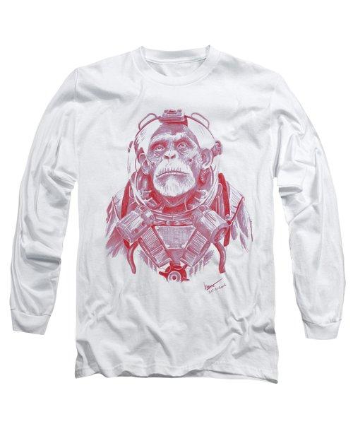 Space Chimp Long Sleeve T-Shirt by Kenny Noorlander
