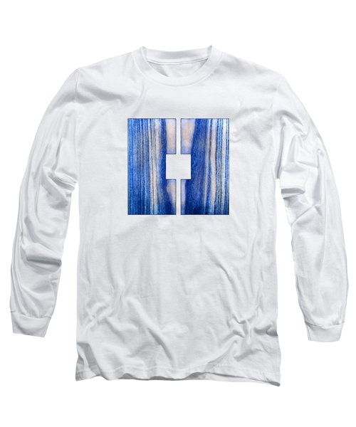 Split Square Blue Long Sleeve T-Shirt by YoPedro