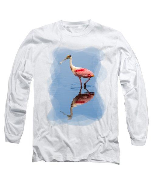 Spoonbill 3 Long Sleeve T-Shirt by John M Bailey