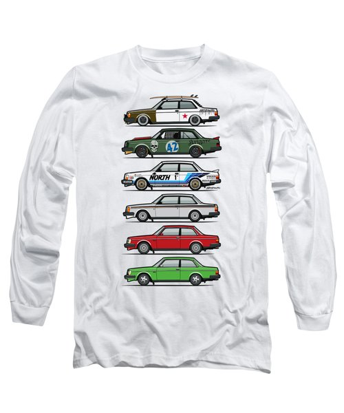Stack Of Volvo 242 240 Series Brick Coupes Long Sleeve T-Shirt by Monkey Crisis On Mars