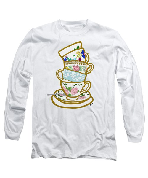 Stacked Teacups Long Sleeve T-Shirt by Priscilla Wolfe