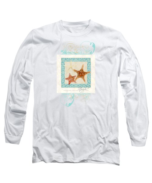 Starfish Greek Key Pattern W Swirls Long Sleeve T-Shirt by Audrey Jeanne Roberts