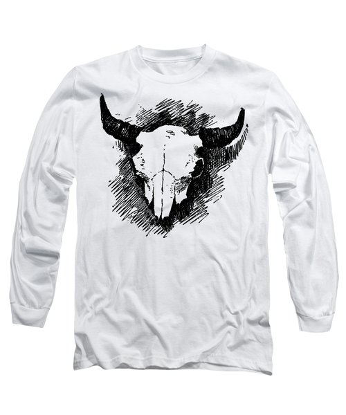 Steer Skull Tee Long Sleeve T-Shirt by Edward Fielding