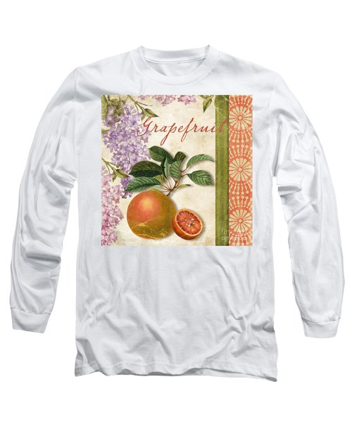 Summer Citrus Grapefruit Long Sleeve T-Shirt by Mindy Sommers