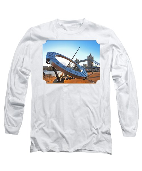 Sun Dial And Tower Bridge London Long Sleeve T-Shirt by Gill Billington