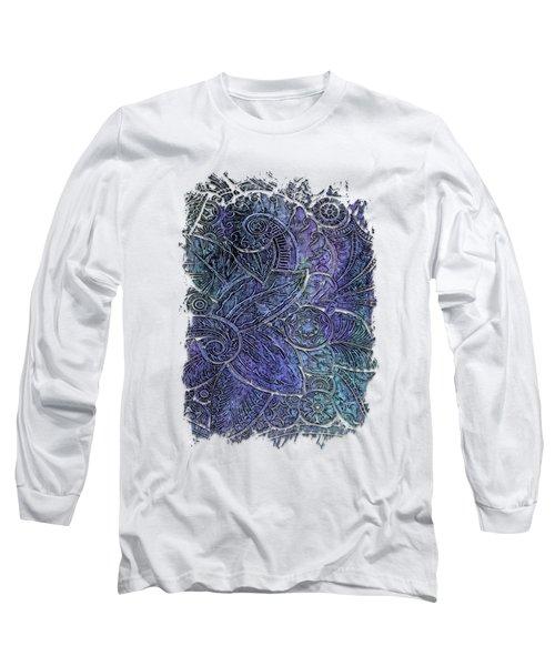 Swan Dance Berry Blues 3 Dimensional Long Sleeve T-Shirt by Di Designs