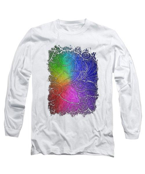 Swan Dance Cool Rainbow 3 Dimensional Long Sleeve T-Shirt by Di Designs