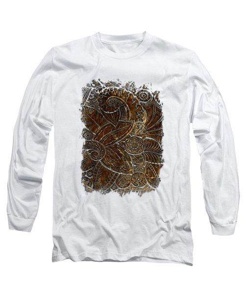 Swan Dance Earthy 3 Dimensional Long Sleeve T-Shirt by Di Designs