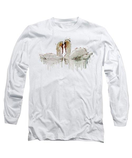 Swan Love Acrylic Painting Long Sleeve T-Shirt by Georgeta Blanaru