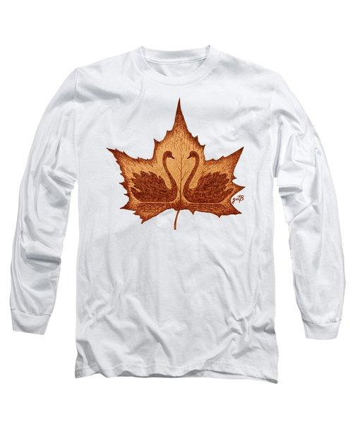 Swans Love On Maple Leaf Original Coffee Painting Long Sleeve T-Shirt by Georgeta Blanaru