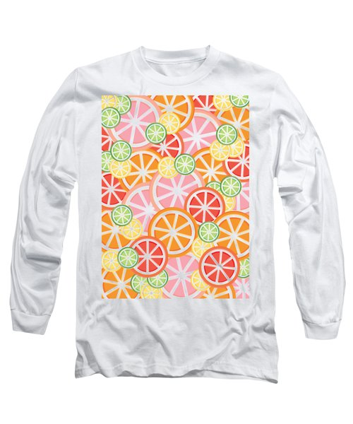 Sweet And Sour Citrus Print Long Sleeve T-Shirt by Lauren Amelia Hughes