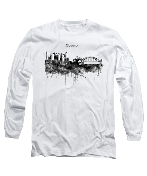 Sydney Black And White Watercolor Skyline Long Sleeve T-Shirt by Marian Voicu