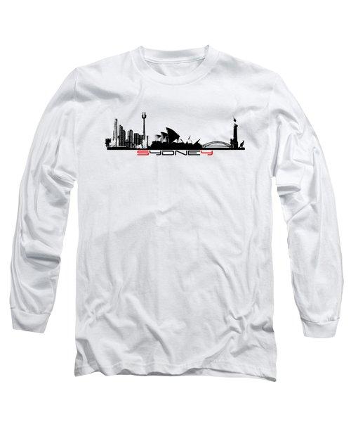 Sydney Skyline Black Long Sleeve T-Shirt by Justyna JBJart