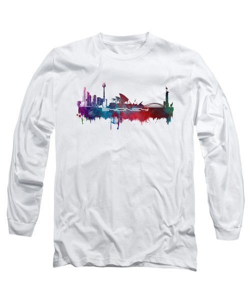 Sydney Skyline City Blue Long Sleeve T-Shirt by Justyna JBJart
