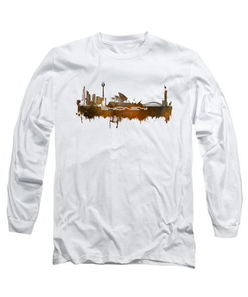 Sydney Skyline City Brown Long Sleeve T-Shirt by Justyna JBJart