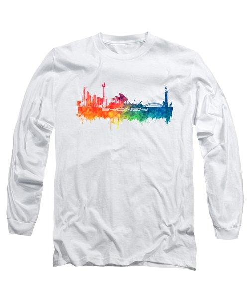 Sydney Skyline City Color Long Sleeve T-Shirt by Justyna JBJart