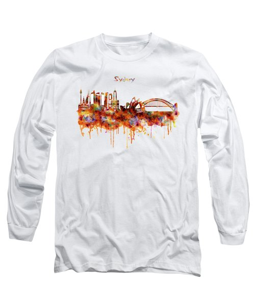 Sydney Watercolor Skyline Long Sleeve T-Shirt by Marian Voicu