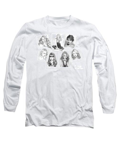 Taylor Swift Collage Long Sleeve T-Shirt by Murphy Elliott