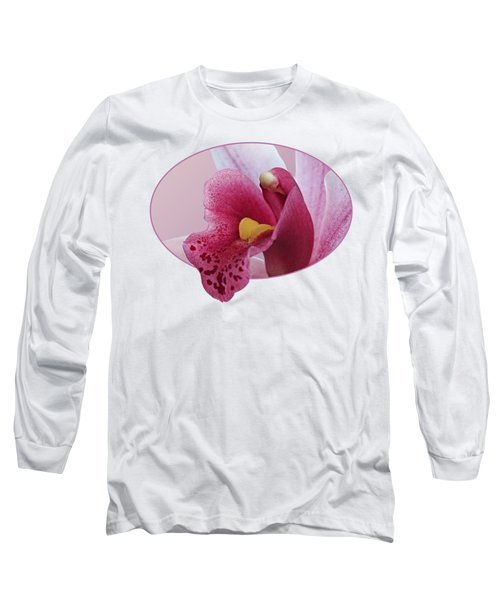 Temptation - Pink Cymbidium Orchid Long Sleeve T-Shirt by Gill Billington
