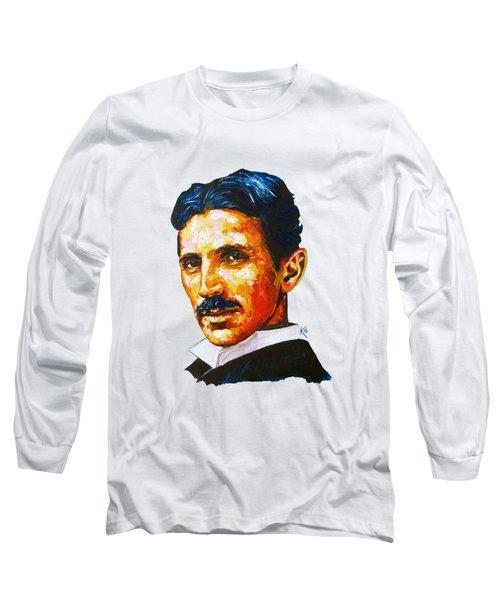 Tesla - Pure Genius Long Sleeve T-Shirt by Konni Jensen